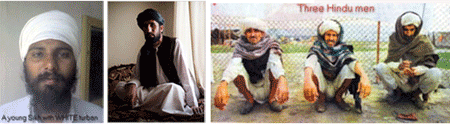 3 styles of turban: Sikh, Muslim, and Hindu