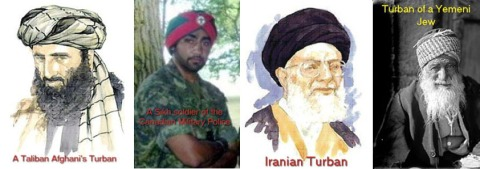 Turbans as worn by Afghani Taliban, a Sikh soldier in the Canadian military, Iranian Taliban, and a Yemeni Jew.