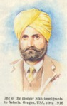Sikh pioneer to USA wearing a yellow pleated turban