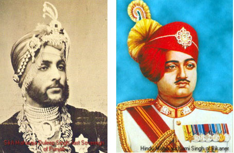 Sikh maharajah at left and Hindu maharajah at right
