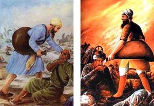 Bhai Kanhaiya Ji serving water to the Muslims