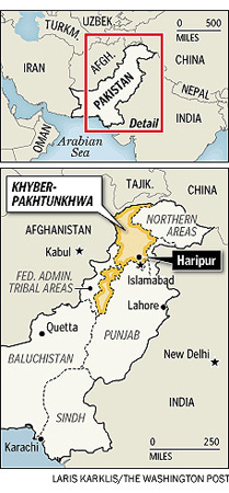 Closeup view of the renamed Khyber-Pakhtunkhwa area below regional map