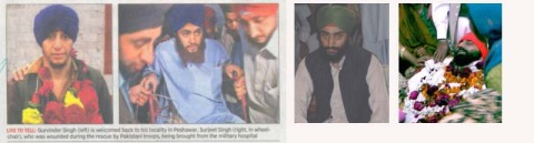 (From Left) 1-2 Newspaper coverage; 3 Jaspal Singh's file photo; 4 Jaspal Singh's dead body before cremation