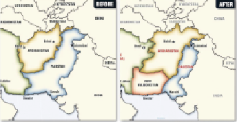 Map of current borders of Pakistan and map of proposed revisions to borders of Pakistan