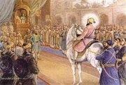 Gur Gobind Singh riding into Mughal Darbar