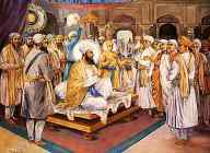 Kashmiri Brahmins with Guru Tegh Bahadar with their serious problem